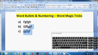 Word Bullets and Numbering - Word Magic Tricks