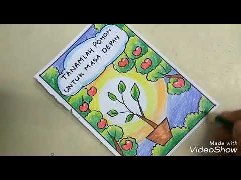 Tutorial Menggambar Poster Menanam Pohon Yang Mudah Buat Anak Sd Youtube