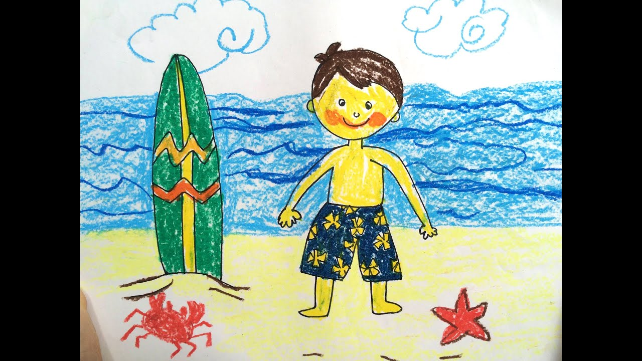 painting summer for kids how to draw tutorial beach sunset and sea for kids art for kids - Drawing And Painting For Kids
