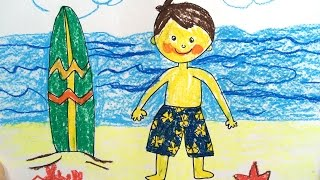 Painting summer for kids | How to draw tutorial beach sunset and sea for kids | Art for kids