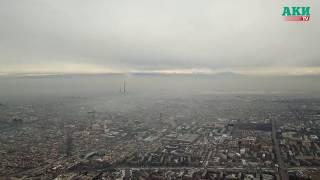Смог над Бишкеком в выходные. Вид с дрона