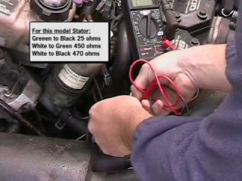 Testing a stator in a snowmobile Arctic cat