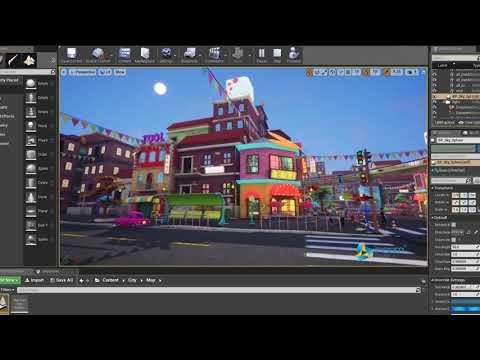 Environment city Cartoon - Film making by autodesk maya 2018 - Render Unreal engine 4 - InCom Studio