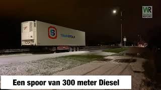 Vrachtwagen geramd door BMW gevolg 300 meter diesel op de N211 Poeldijk