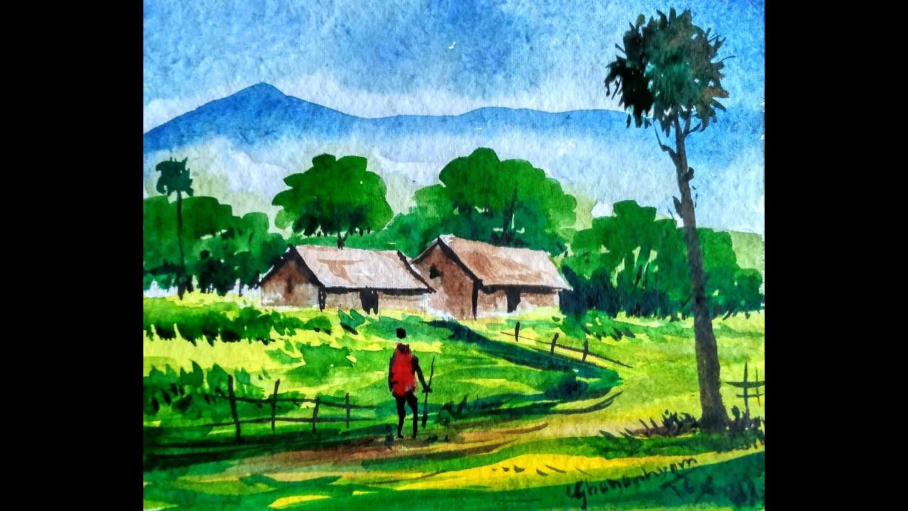 How to paint a watercolour landscape, watercolor painting ...