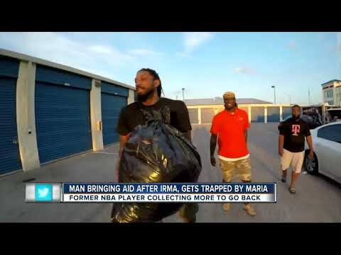 Former NBA player and Tampa resident, Renaldo Balkman collection Puerto Rico donations