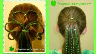 St. Patrick's Day Hairstyles, 3 Leaf Clover, Shamrock Hairstyle w/ Ribbon