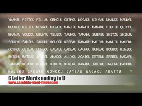 6 letter words ending in U