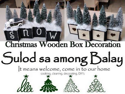 DIY #Dollartree#Michaels#Walmart Christmas Wooden Box Decoration