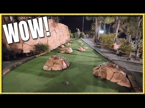 CRAZY LUCKY HOLE IN ONE AT A MINI GOLF CHALLENGE COURSE! - SOME OF THE COOLEST HOLES EVER!