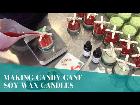 Making Hand Poured Candy Cane Soy Wax Candles