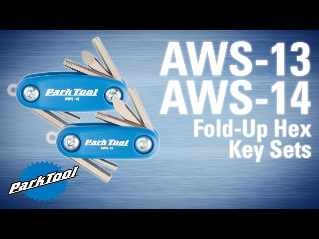 Overview of the AWS-13/14 Micro/Mini Fold-Up Hex Key Sets. AWS-13: http://www.parktool.com/product/micro-fold-up-hex-key-set-aws-13 AWS-14:  http://www.parktool.com/product/mini-fold-up-hex-key-set-aws-14  A diminutive version of our world famous fold-up tools, featuring 3, 4, and 5mm hexes, a T25 Torx® compatible bit, combo screwdriver, and a key ring holder, all in a tough composite case.