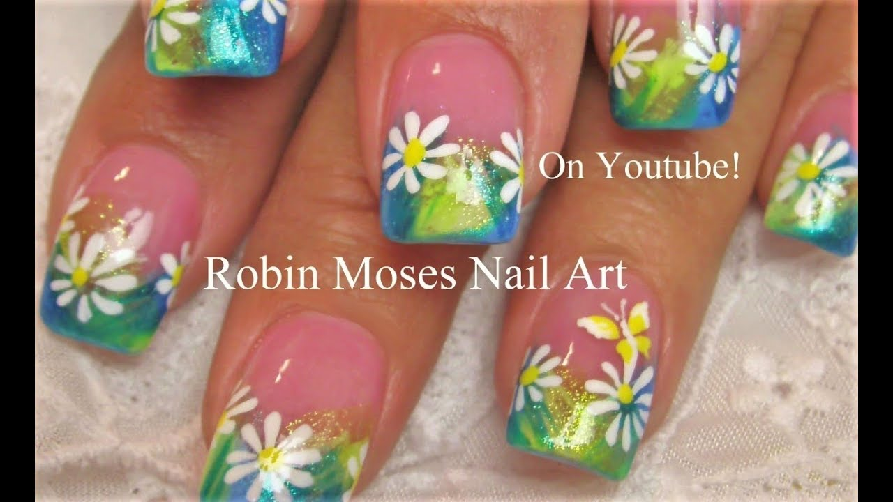 Easy Daisy Spring Nails | Pastel Flower Nail Art Design Tutorial - Easy Daisy Spring Nails Pastel Flower Nail Art Design Tutorial