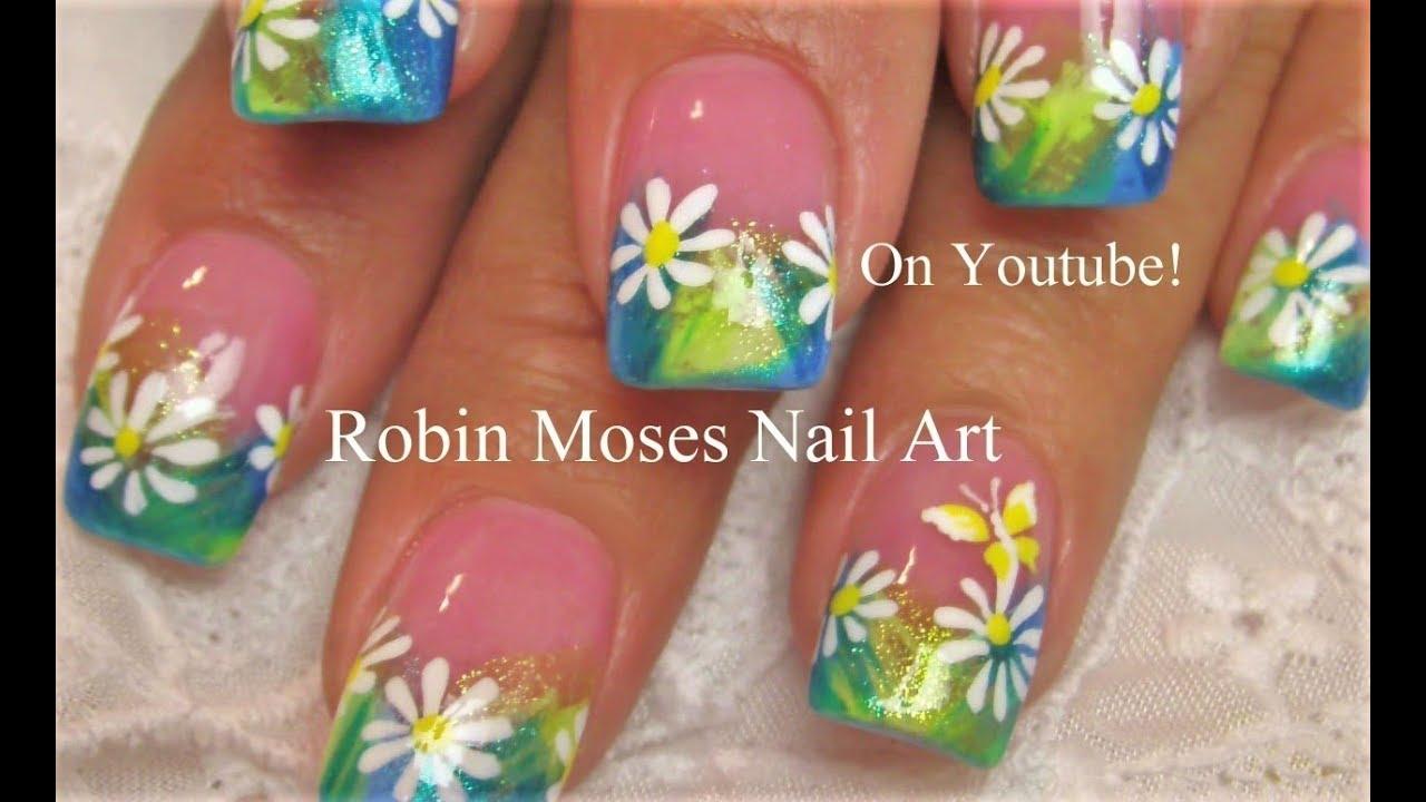 easy daisy spring nails pastel