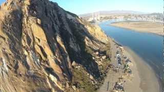 Aerial video of Morro Bay, Dinosaur Caves, Shell Beach, San Simeon Pier