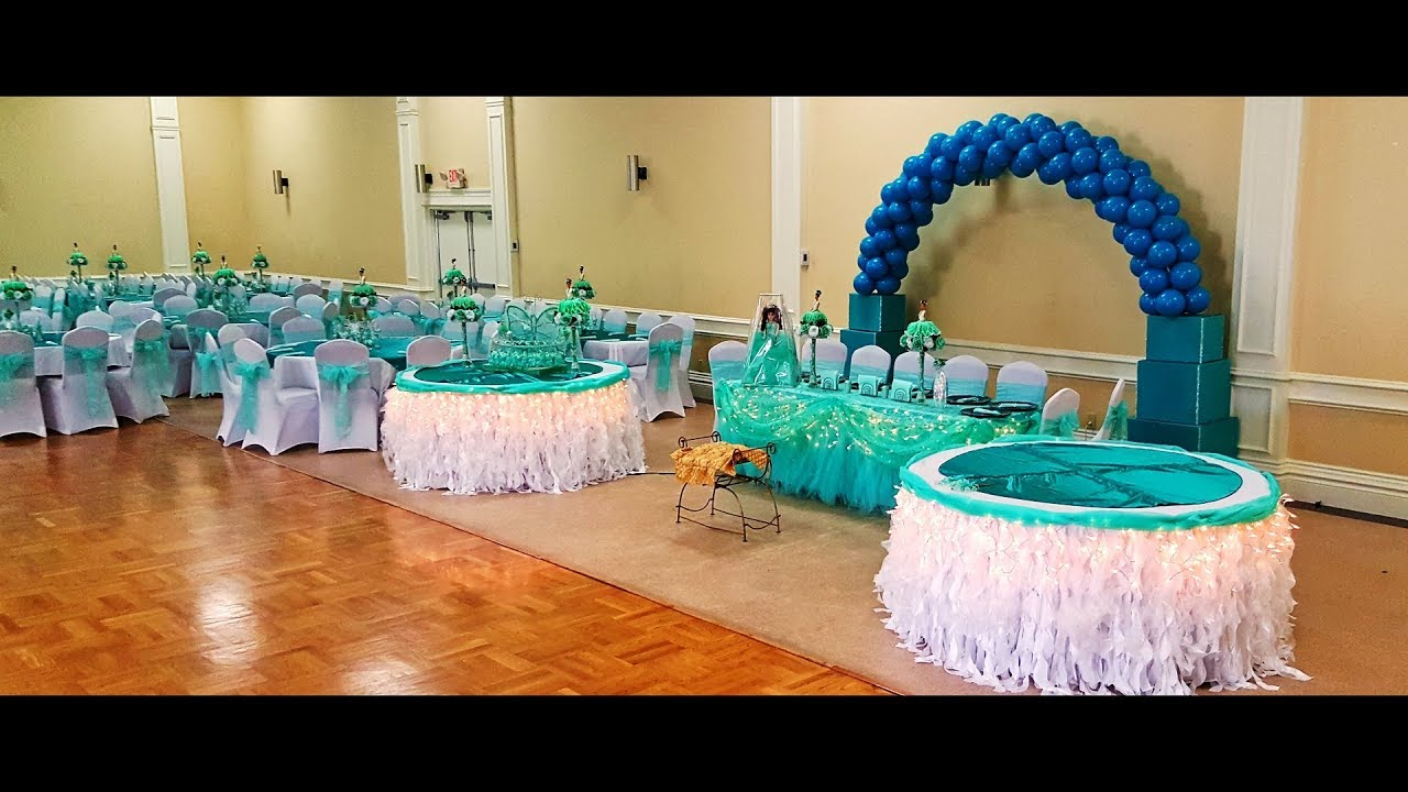 Decoracion de 15 a os color verde jade youtube for Decoracion para quince anos