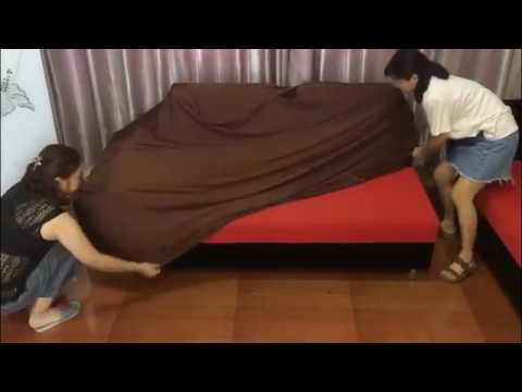 How to install universal sofa cover on L shaped sofa