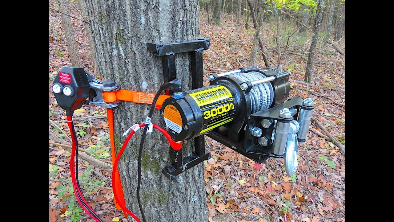 Electric Tree Winch Portable Deer Winch Welding Youtube