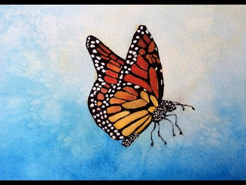 Monarch Butterfly watercolor tutorial, a how to do lesson