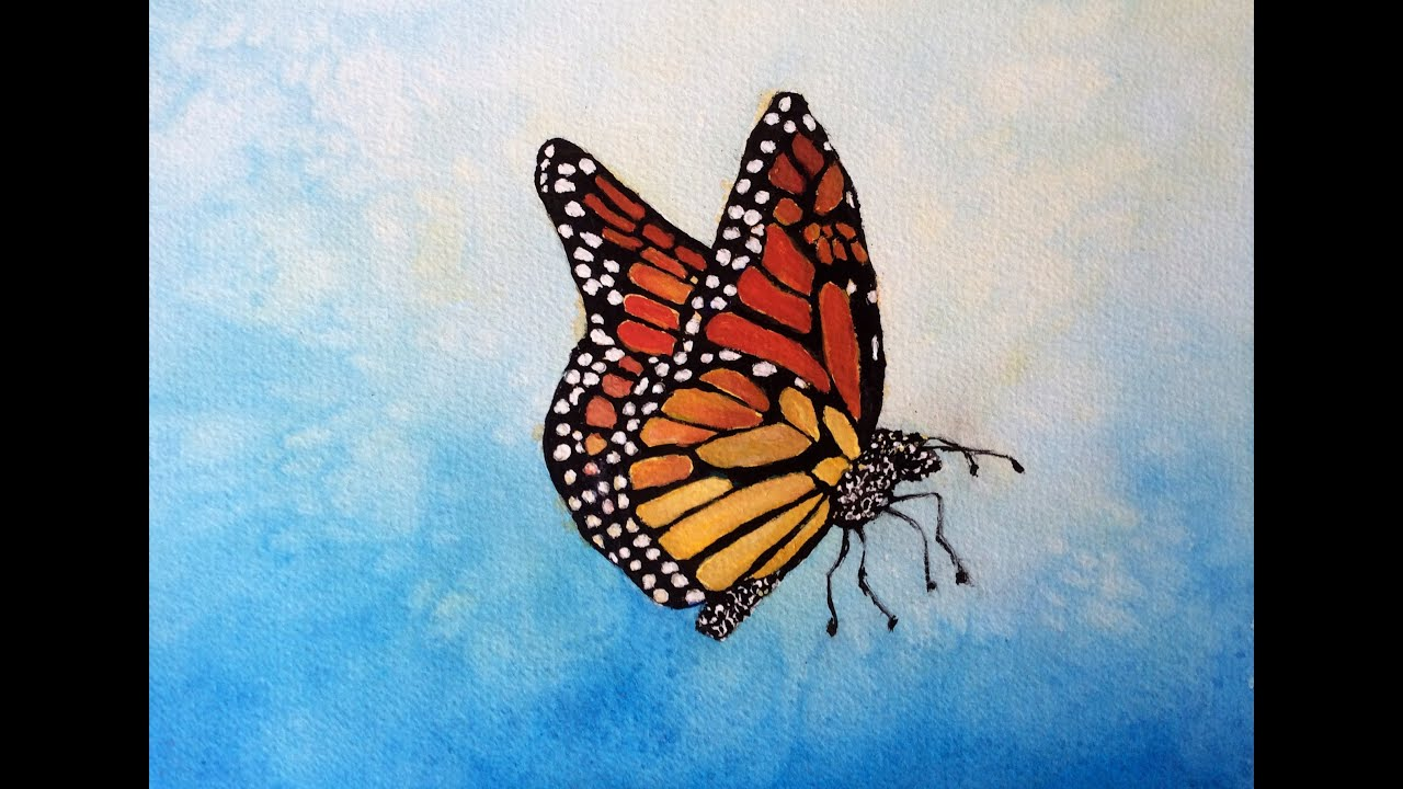 Monarch Butterfly watercolor tutorial, a how to do lesson - YouTube for Butterfly Painting Designs  575lpg