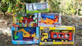 Toy UNBOXING - Excavator ,Water truck , Trailer Truck, Harvester, tank.