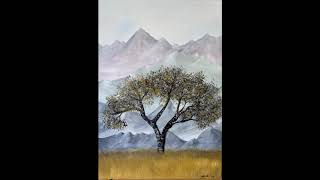 Pastel Mountains and the Lonely Tree - Acrylic Painting on Canvas