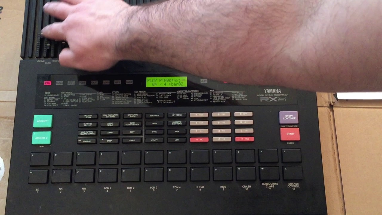 yamaha rx5 factory reset load demo song presets drum machine