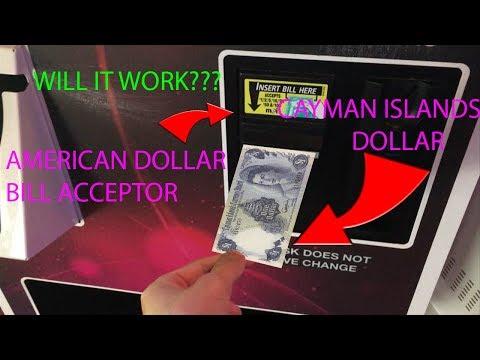 USING A CAYMAN ISLAND DOLLAR IN A AMARICAN MACHINE!!!