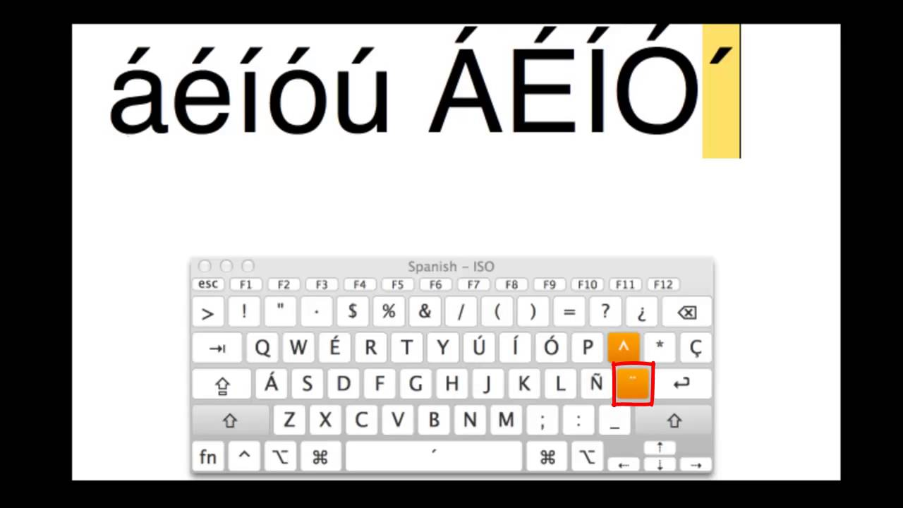 Typing Accents On A Mac Spanish Keyboard Layout Youtube
