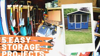 Garden Shed Organization - 5 easy projects (Shelves, Tool Rack, Crates & other storage ideas)