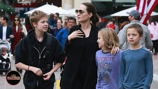Angelina Jolie Out Holiday Shopping with Shiloh, Knox and Vivienne Jolie-Pitt