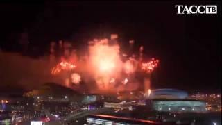 Зажжение огня и салют на церемонии открытия Олимпийских игр