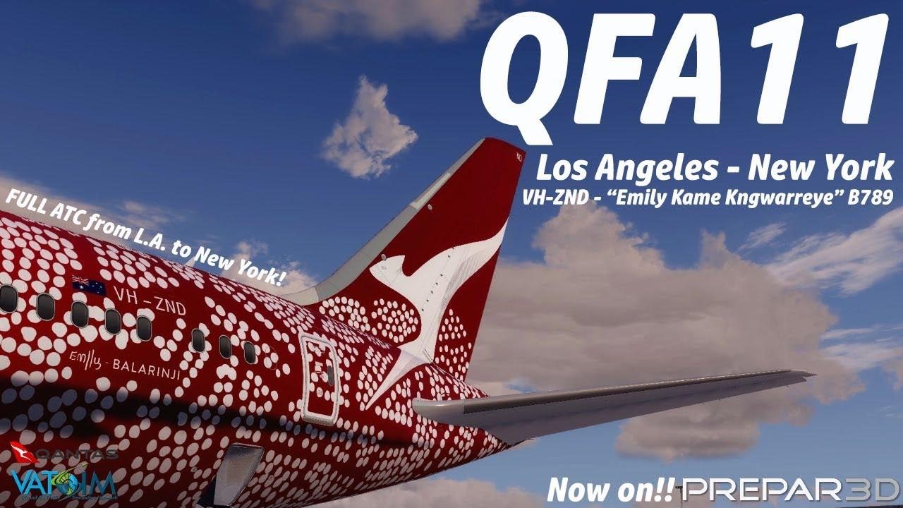 VATSIM P3d V4 3 Los Angeles to New York Qantas 11 Qualitywings 787-9