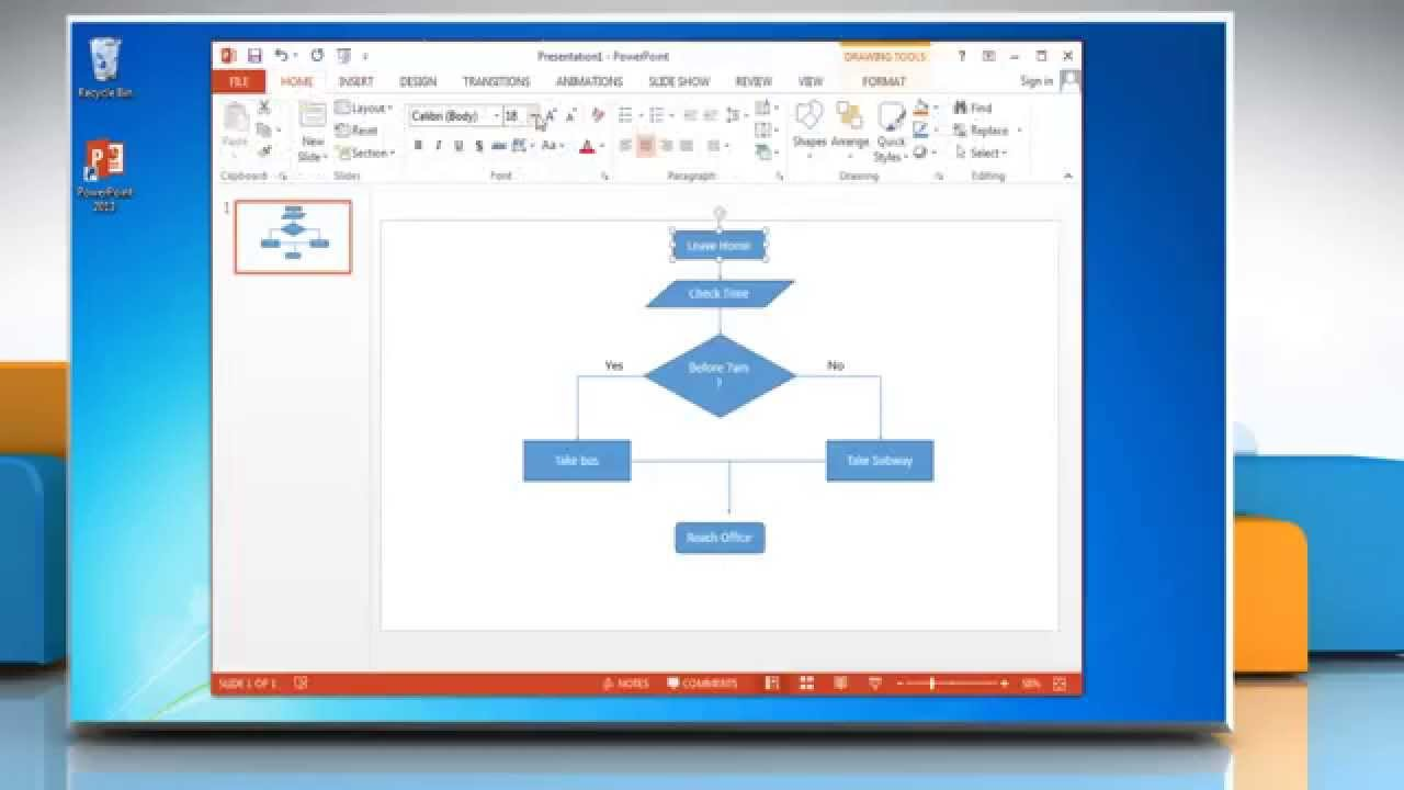 How To Make A Flow Chart In Powerpoint 2013 Youtube Process Diagram Yes No
