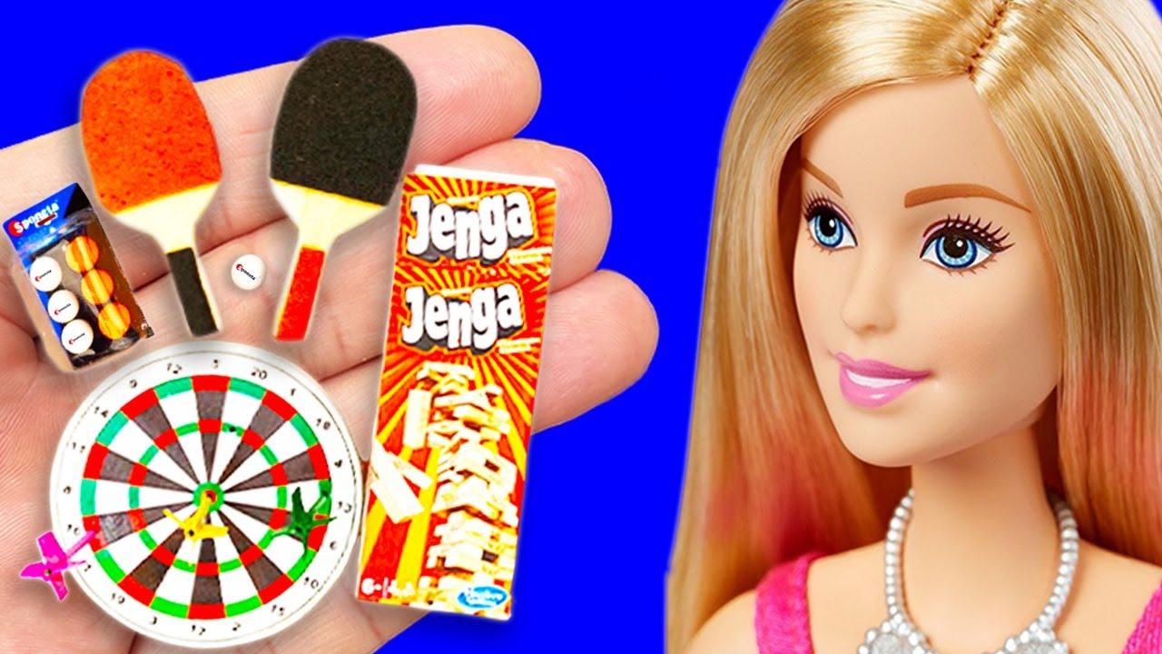 REAL DIY miniature Dolls Crafts 〜 darts, Jenga, Ping Pong, and more diy dollhouse Barbie !!!