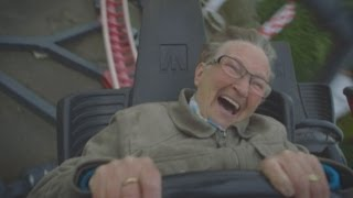 hilarious daredevil grandma rides roller coaster for the first time