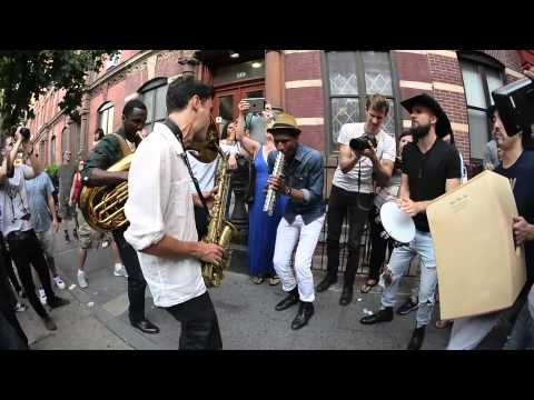 Jon Batiste And Stay Human on the streets of Williamsburg (Tue 6/9/15)