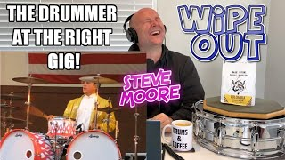 Drum Teacher Reaction: STEVE MOORE (Mad Drummer) 'This Drummer Is At The Wrong Gig' plays WIPE OUT!