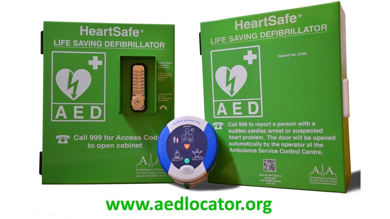 AED Locator HeartSafe® Cabinets Featuring HeartSine Samaritan Pad 500P  Defibrillator   YouTube