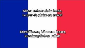 Marseljeesi - Ranskan kansallislaulu (käännös suomeksi)