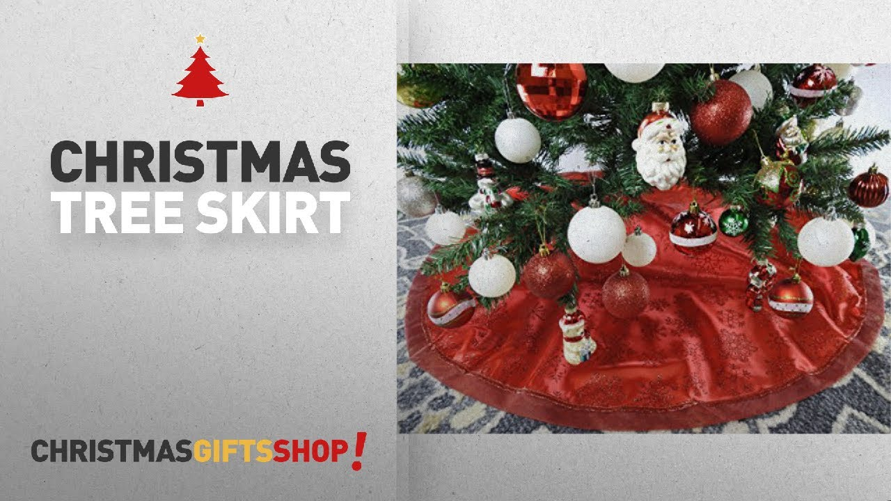 Most popular christmas tree skirt quot red fabric with