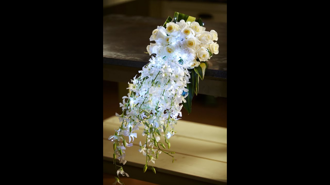 How to Arrange Flowers: Hand-Tied Cascade Wedding Bouquet! - YouTube