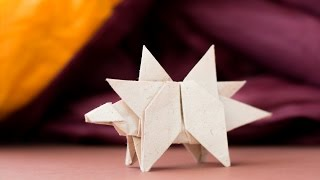 Origami Dinosaur. How to make dinosaur from paper. Stegosaurus
