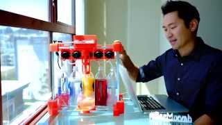 3d printed bartender robot named Bar Mixvah makes a drink!
