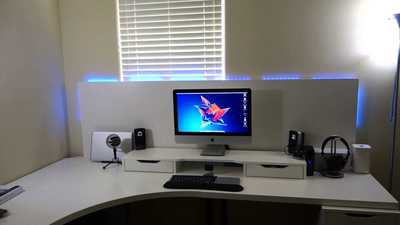 Clean White Computer Desk Setup From Ikea Linnmon Adils With Alex Custom Ikea Desk Build - Youtube