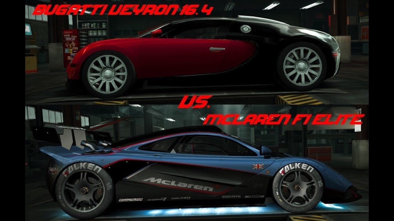 nfs world bugatti veyron 16 4 vs mclaren f1 elite full. Black Bedroom Furniture Sets. Home Design Ideas