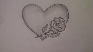 Как нарисовать сердце с розой. Уроки рисования для начинающих(Здравствуйте! Предлагаю вашему вниманию видеоролик, где я показываю, как очень просто нарисовать сердце..., 2015-08-05T21:26:34.000Z)