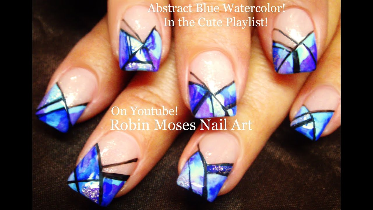 Blue Abstract Watercolor Stripe Nails! Easy Nail Art ...