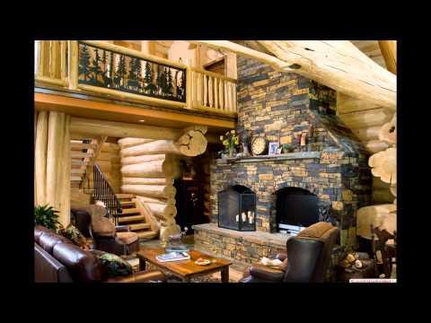 Интерьер деревянного дома.Интерьер каминной комнаты