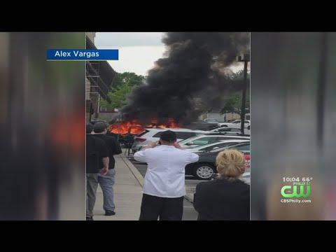 Intense Flames Consume Car Outside Huntingdon Valley Shopping Center